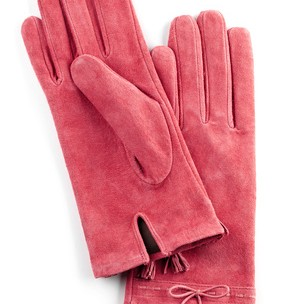 pink suede gloves for woman,isolated