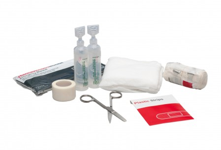 First aid medical supplies isolated on a white background